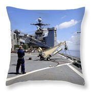 A Scan Eagle Uav Is Launched Throw Pillow