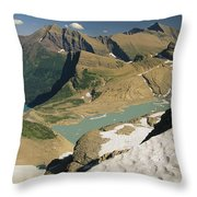 A Scenic View Of Lakes In Glacier Throw Pillow