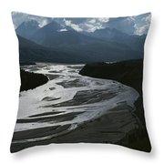 A Scenic View Of The Matanuska River Throw Pillow
