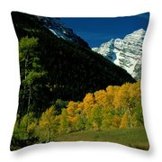 A Scenic View Of Yellow And Green Trees Throw Pillow