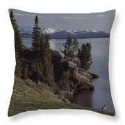 A Scenic View Of Yellowstone Lake Throw Pillow