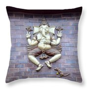 A Sculpture Of The Hindu God Ganesha Throw Pillow