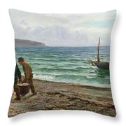 A Sea View Throw Pillow by Colin Hunter