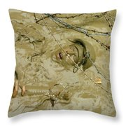 A Seabee Emerges From Muddy Water Throw Pillow by Stocktrek Images