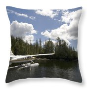 A Seaplane Taking Off From Vancouver Throw Pillow