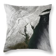 A Severe Winter Storm Along The United Throw Pillow