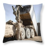 A Shipping Container Is Off-loaded Throw Pillow