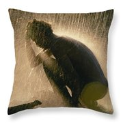 A Silhouetted Man Cooling Off In Water Throw Pillow