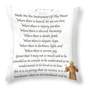 A Simple Prayer By Saint Francis Throw Pillow