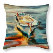 A Single Boat Throw Pillow