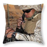 A Single-channel Radio Operator Works Throw Pillow by Stocktrek Images