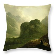 A Sketching Party In The Pass At Borrowdale Throw Pillow
