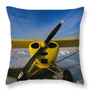 A Small Personal Aircraft Sitting Throw Pillow