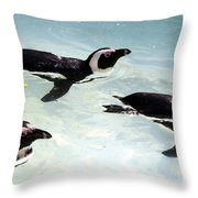 A Small Squadron Of Swimming Penguins Throw Pillow