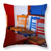 Colorful Table And Chairs Greece Throw Pillow