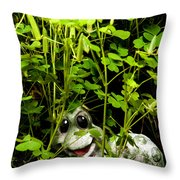 A Smile In A Clover Forest Throw Pillow