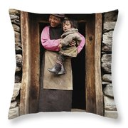 A Smiling Bhutanese Woman And Child Throw Pillow