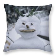 A Smiling Snowman With Twig Arms Throw Pillow