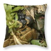 A Sniper Dressed In A Ghillie Suit Throw Pillow