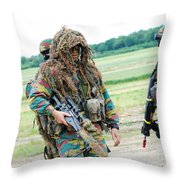 A Sniper Of The Belgian Army Together Throw Pillow