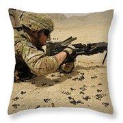 A Soldier Clears The Mk-48 Machine Gun Throw Pillow
