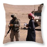 A Soldier Communicates With A Local Throw Pillow