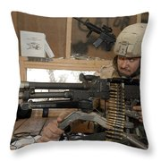A Soldier Conducts An Observation Throw Pillow