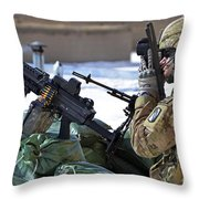 A Soldier Keeps A Close Watch Throw Pillow