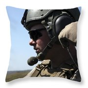 A Soldier Keeps In Radio Contact Throw Pillow by Stocktrek Images