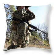 A Soldier Looking Through Binoculars Throw Pillow