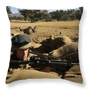 A Soldier Mans His Position At Fort Throw Pillow