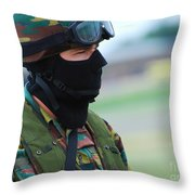 A Soldier Of The Special Forces Group Throw Pillow by Luc De Jaeger