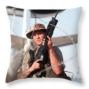 A Soldier Posts Security Throw Pillow