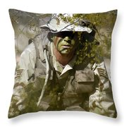 A Soldier Practices Evasion Maneuvers Throw Pillow