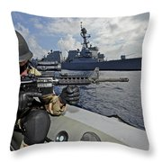 A Soldier Provides Security In A Rigid Throw Pillow
