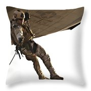 A Soldier Rappels From An Mh-60s Throw Pillow