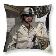 A Soldier Stands Watch At The Camp Throw Pillow