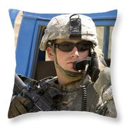 A Soldier Talking Via Radio Throw Pillow by Stocktrek Images