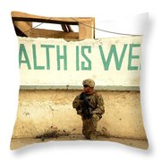 A Soldier Talks To An Afghan Boy Throw Pillow