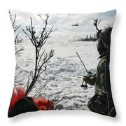 A Soldier Uses Red Smoke To Signal Throw Pillow