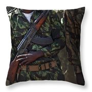 A Soldier With The Armed Forces Throw Pillow