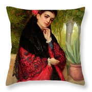 A Spanish Beauty Throw Pillow by John-Bagnold Burgess