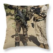 A Spanish Marine Points Out An Throw Pillow