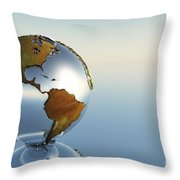A Sphere Holding North And South Throw Pillow