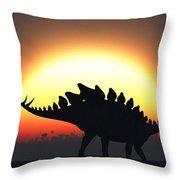 A Stegosaurus Silhouetted Throw Pillow