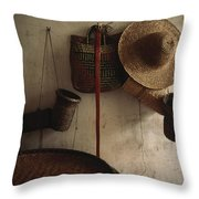 A Straw Hat, Straw Baskets And A Belt Throw Pillow