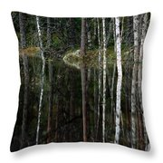 A Stream At High Water In A Woodland Throw Pillow