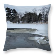A Stream In Ice Throw Pillow