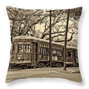 A Streetcar Named St. Charles Sepia Throw Pillow