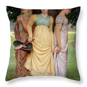 A Summer Shower Throw Pillow by Charles Edward Perugini